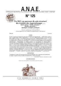Un parcours structuré des troubles des apprentissages, ANAE, n°125, parution déc. 2013