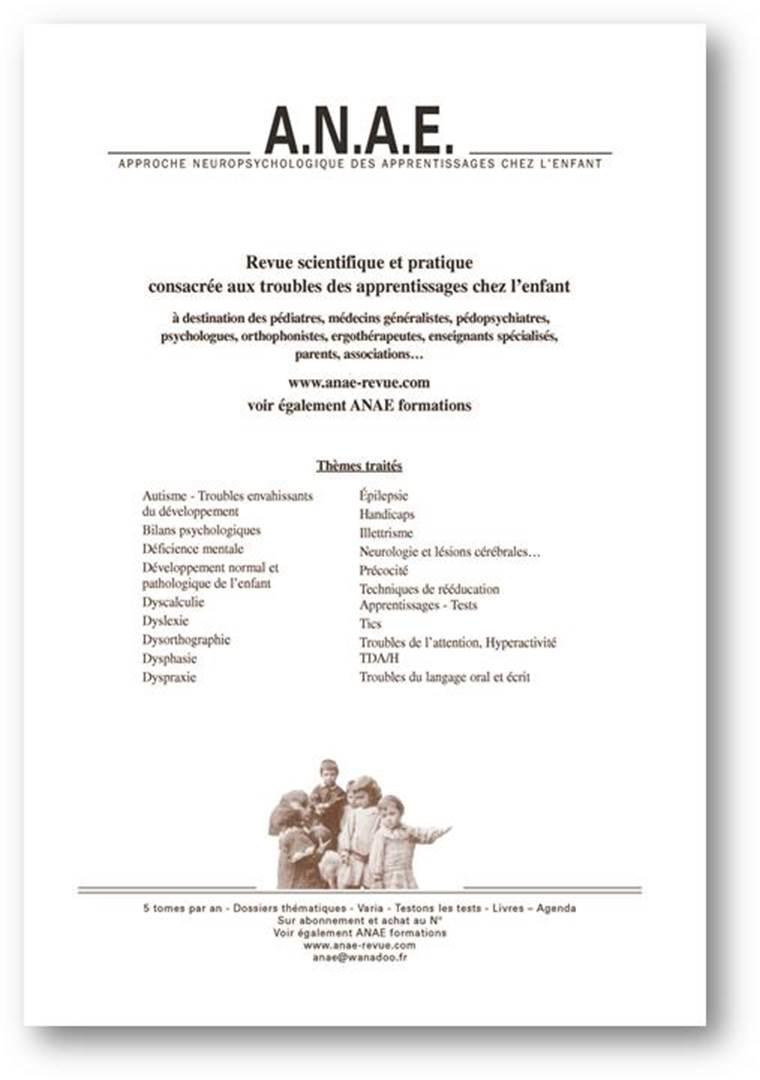 ANAE - revue scientifique Approche Neuropsychologique des Apprentissages chez l'Enfant