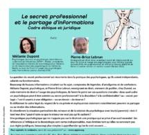 Le secret professionnel et le partage d'informations - Cadre éthique et juridique